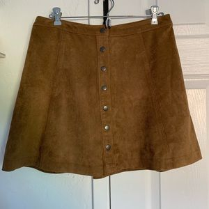 Abercrombie suede button up skirt